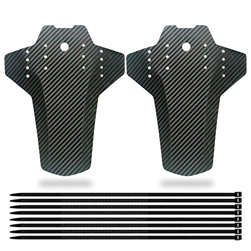 Mirrwin Mud Guards Mtb Rear Mudguard MTB Mud Guard Front and Rear Compatible Bike Mudguard set Bike Fenders Suitable Cycling/Racing/Mountain Road Bikes Fits Wheel 2 Pieces Black with 8 Cable Ties