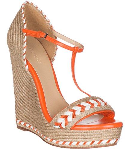Gucci Women's Neon Orange Leather T-Strap Platform Sandal Shoes, Orange, 8