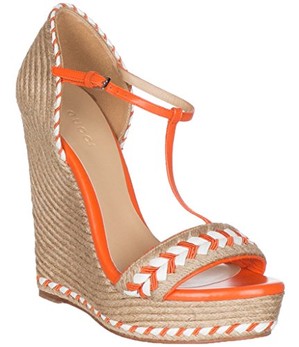 Gucci Women's Neon Orange Leather T-Strap Platform Sandal Shoes, Orange, 8