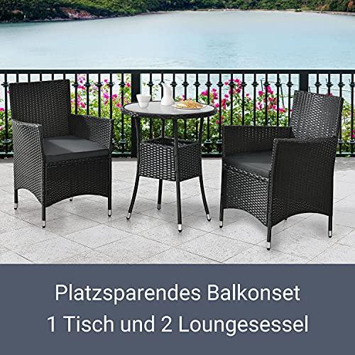 ArtLife Polyrattan Balkon Set Bayamo 2 Personen – Tisch mit Glasplatte & 2 Stühlen – Wetterfeste Balkonmöbel – Auflagen waschbar – schwarz – grau - 4