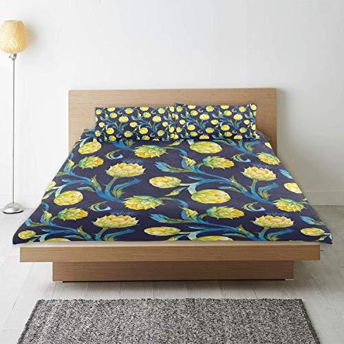 Nonun Bettwäsche-Bettbezug-Set, Artischocken-Jugendstil-Lebensmitteldruck, Mikrofaser mit 2 Kissenbezügen 50x80