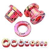 QWERBAM 1 Pareja Oreja Piercing Cuerpo Cuerpo joyería camillas acrílico túneles enchufes enchufes expansores medidores para Mujeres Hombres oído expansión (Main Stone Color : 4mm, Metal Color : Red)
