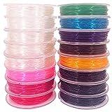 Hilo Elástico para Pulsera Colores Cristal Transparente, 16 Rollos Cordón Elástico 0.6mm x 13Metros, Joyas con Perlas. Hilo Cristal para manualidades y Abalorios. Fibra Elastica.