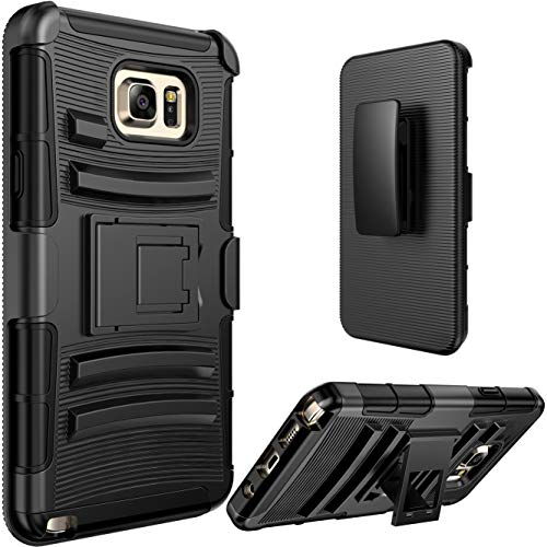 Note 5 case, E LV Galaxy Note 5 (Holster Defender) - Shock Proof/Impact Resistant Holster Protection with Belt Clip and Kickback Stand - case Cover for Samsung Galaxy Note 5 - Black