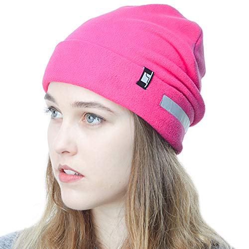 The Hat Depot Fleece Winter Beanie Hat Cold Weather Reflective Safety for Men & Women Performance Stretch (Hot Pink)