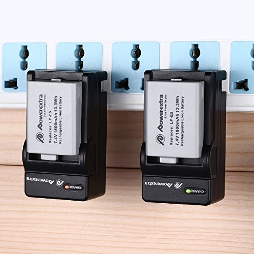 Powerextra 2 Pack Replacement Canon LP-E5 Battery and Charger Compatible with Canon EOS Rebel XS, Rebel T1i, Rebel XSi, 1000D, 500D, 450D, Kiss X3, Kiss X2, Kiss F (Free Car Charger Available)