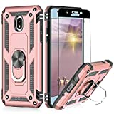 TJS Phone Case Compatible with Samsung Galaxy J7 2018/J7 Refine/J7 Star/J7 Eon/J7 TOP/J7 Aero/J7 Crown/J7 Aura, [Full Coverage Tempered Glass Screen Protector] Metal Ring Magnetic Support (Rose Gold)