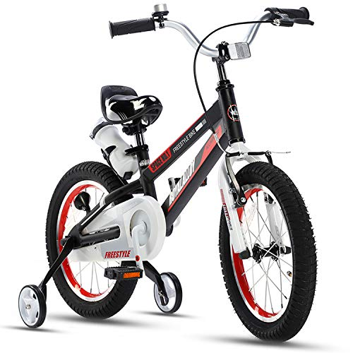 RoyalBaby Kids Bike Boys Girls 12 Inch Space No.1 Aluminum Bicycles with Training Wheels Child Bicycle Black