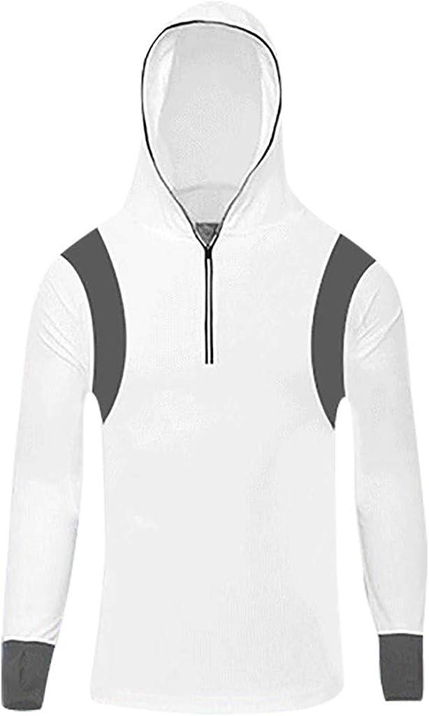 Gergeos Mens UPF 50+ Sun Protection Hoodie Sweatshirts Zipper Sports Running Fitness Fishing Long Sleeves T-Shirts