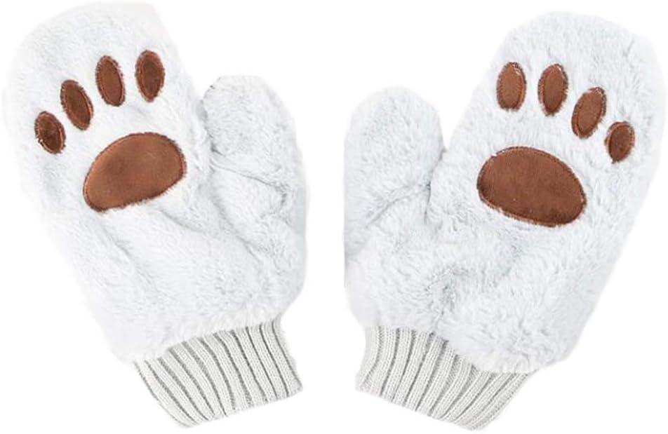 1 Pair Cute Cat Paw Gloves Plush Warm Gloves Mittens Winter Accessories for Women Girls, Grey