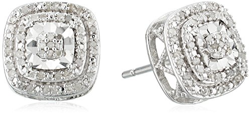 Jewelili Sterling Silver Double Halo Diamond Stud Earrings,1/4 cttw