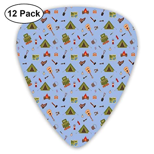 Boy Scout Camping Icons wie Zelt Gitarre Lagerfeuer und Stiefel Illustration für Kinder Blaugrün (12er Pack)