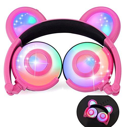 GZCRDZ - Auriculares de diadema para niños, diseño de oso, USB, recargable, con cable en la oreja, 85 dB, volumen limitado para niñas, niños, compatible con tabletas de niños,...