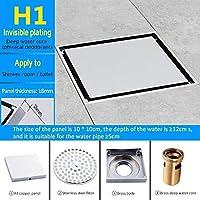 CENPEN 浴室用ユニット 排水口カバー 床排水 10 * 10センチメートル床排水ステンレス鋼スクエアシャワー床排水タイルインサートはチャンネル浴室台所廃棄物を排出します シャワー排水 床ドレインバス用 (Color : H1)