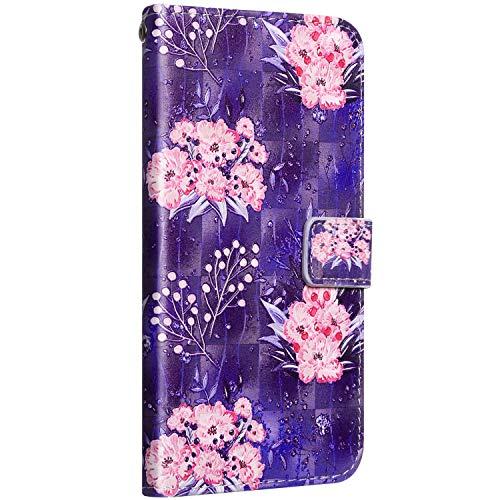Saceebe Compatible avec Huawei P30 Coque Étui Portefeuille Cuir Housse Coloré Motif Glitter Housse Protection Flip Case Wallet Coque avec Fonction de Support Carte de Crédit,Fleur Rose