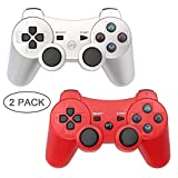 10. Autker PS3 Controller Wireless 2 Pack Playstation 3 Controller Double Vibration for PS3 with 2 Charging Cable (Silver+Red)