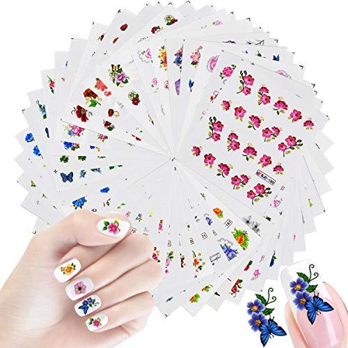 55 Hojas 3D Flores Nail Art Stickers Calcomanías de Manicura, Pegatinas Uñas al Agua Decorativas, DIY Etiquetas Engomadas Uñas, Clavo Arte Diseño Pegatinas para Mujeres Niñas Damas