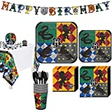 Party City Harry Potter Party Supplies for 8 Guests, Include Plates, Napkins, a Table Cover, a Banner, and Decorations