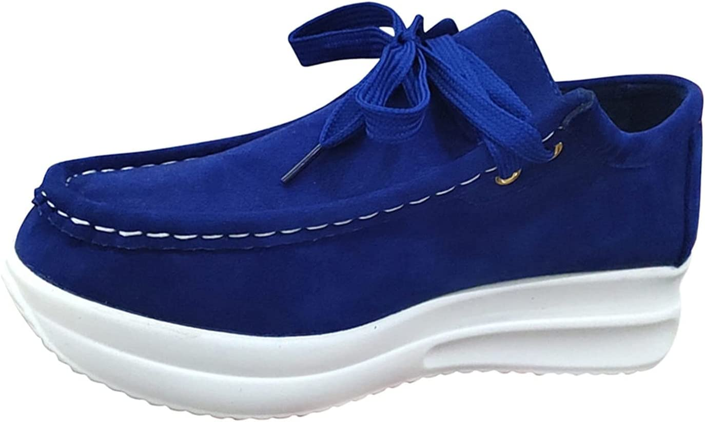 Womens Fashion Sneakers,Lace Up Breathable Casual Walking Shoes,Memory Foam Soles for Perfect Curve Body(Blue,6.5)