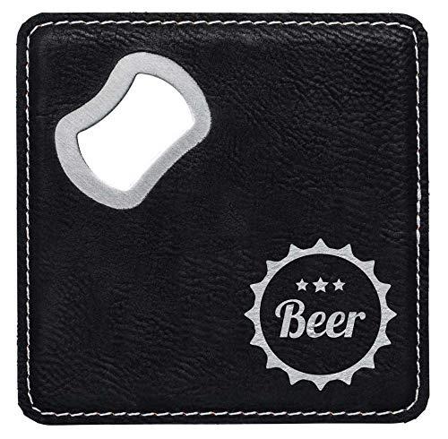 die stadtmeister Bier-Untersetzer Kunstleder Beer - Kronkorken/mit Kapselheber/Flaschenöff