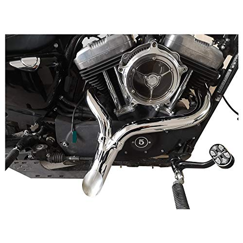 """SHARKROAD Chrome 2 INTO 1 None-Baffled-Loud Exhaust Pipes, 1.75""""-2.0""""-3.0"""" Tripe-Steps LAF Drag Pipes for 2004-2020 Harley Davidson Sportster, Higher Performance and Distinctive Sportster Exhaust. 05C"""