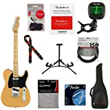 Fender Player Telecaster Electric Guitar, 22 Frets, Modern'C' Shape Maple Neck, Maple Fingerboard, Gloss Polyester, Butterscotch Blonde - With 9 Pack Accessory Bundle
