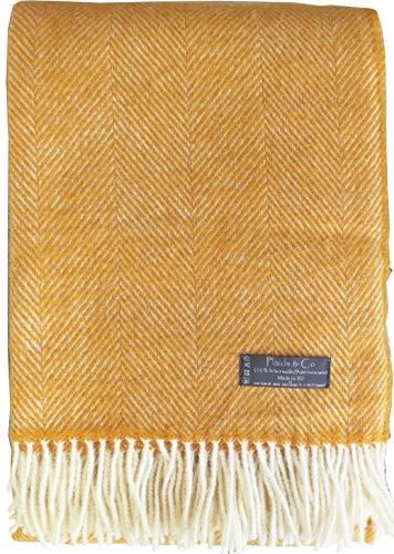 Plaids & Co Lange Fischgrat Wolldecke aus 100% neuseeländischer Schurwolle Ökotex 100 (130 x 220 cm, ockergelb)