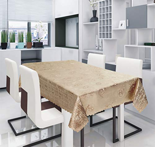 All For You Light Weight PVC Rectangular / Round Tablecloth Protector, Table Protector Beautiful Metallic Print (Gold, 54'x54')