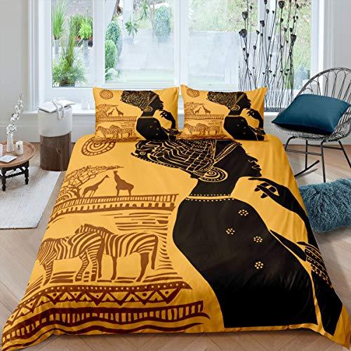Juego de Funda nórdica para Mujeres africanas, Juego de Cama étnico Afro Zebra Jirafa, 135x200cm, Juego de Cama Tradicional marrón Africano Boho Tribal de 2 Piezas