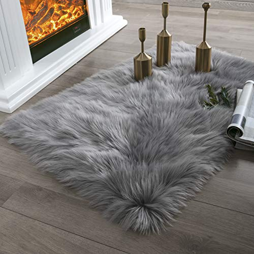 Ashler Ultra Soft Fluffy Area Rug Faux Fur Sheepskin Carpet Chair Couch Cover for Bedroom Floor Sofa Living Room, Grey Rectangle 2 x 3 Feet