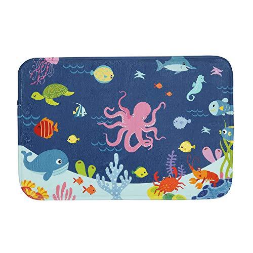Bathroom Rug Mat, 24''X16'', Super Soft and Absorbent Shaggy Plush Nautical Sea Bath Rugs for Kids, Thicken, Non Slip, Carpet Mats for Shower and Bathroom, Cartoon Octopus Undersea Animals World