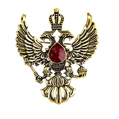 D&XQX Retro vleugel metalen pinnen en broches Punk kroon pak reversspeld vintage dubbele kop Eagle badge broche mannen accessoires