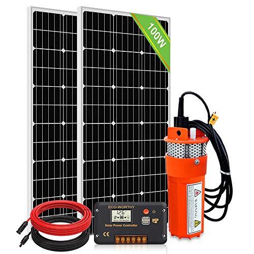 DCHOUSE 2pcs 100 watts Panneau solaire polycristallin avec pompe de puits submersible 24V et kits de montage pour la source d'eau