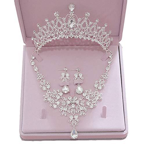 Angel3292别致的镂空花婚礼新娘首饰套装皇冠皇冠耳环项链