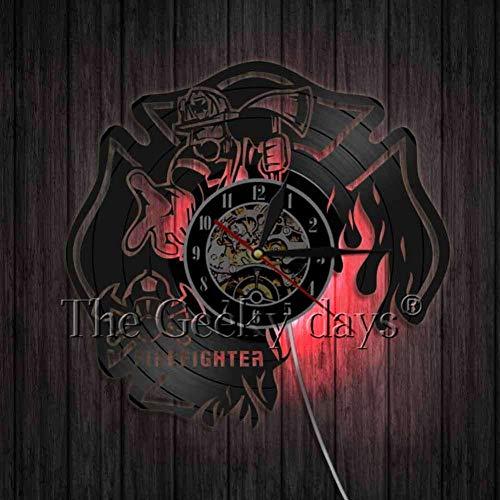 HHYXIN Vinyl-Wanduhr Schallplatte Wanduhr Feuerwehr Firefly Feuerwehrmann Personalisierte Einzigartige Handgemachte Home Decor Original Uhren Geschenke