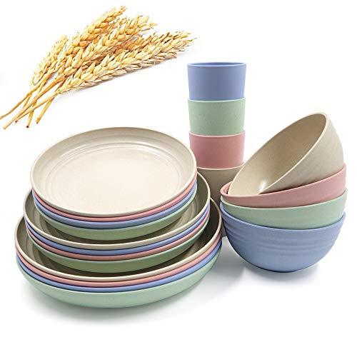 Juego de 20 platos de paja de trigo, platos ligeros, juego de tazas, vajilla irrompible para picnic, fiesta, barbacoa, boda, camping (B4)