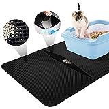 Queta Alfombra para Gatos, Estera de Arena para Gatos,almohadilla plegable para caja de arena de dos capas. Puede prevenir la arena para gatos se esparza por el suelo. (Negro 55 * 70 cm)