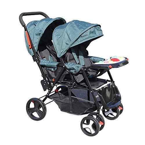 Cochecito doble plegable transpirable delantero y trasero para bebés, color verde oscuro con cesta y comedero