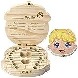 Caja De Dientes De Leche De Madera Organizador Para El Bebé,Colección de Dientes de Hoja Caduca Caja de Recuerdos Para Mantener la Memoria de la Infancia (Chica)