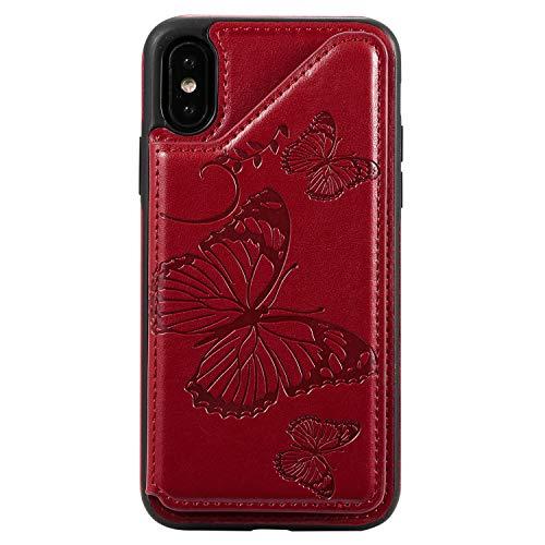 Bear Village Coque iPhone X/iPhone XS, Anti Rayures Étui à Rabat, Portefeuille Housse en PU Cuir Compatible avec iPhone X/iPhone XS, Coque Arrière en Relief, Rouge