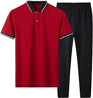 MogogNMen Relaxed Fit Athletic-Fit 2-Piece Summer Casual Polo Tracksuit Outfit