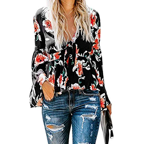 Women Vintage Print Blouse Beach Long Sleeves Shirts Patch Tunic Henley V Neck Blouse T Shirts Loose Floral Print Tunics