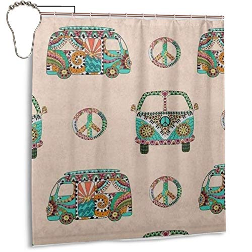 BJjiayu Fashion Bathroom Decoration Shower Curtains,Colorful Hippy Ornamental Camper Bus with Hippie Peace Signs Polyester Fabric Bath Accessories with Hooks 66x72 Inch