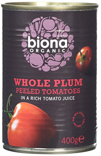 Biona Organic Whole Plum Peeled Tomatoes 400g (Pack of 12)