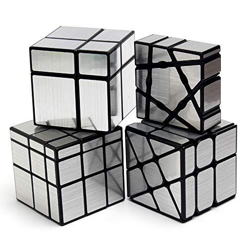4 Pack Speed Cube Paquete de 1x3x3 Ghost Cube + 2x2x2 y 3x3x3 Mirror Cube + Windmill Cube Pegatinas de Espejo Irregulares Juego de Cubos mágicos (Plata)