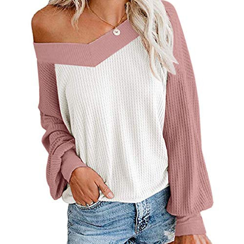 Review Of RUIVE Women's V Neck Blouse Fall Winter Long Sleeve Waffle Pockets Knitted Top Ladies Plus...