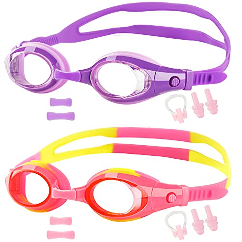 Elimoons Kids Swim Goggles, Pack of 2, Swimming Glasses for Children and Early Teens from 3 to 15 Years Old, Clear Vision, Anti-Fog, Waterproof, UV Protection