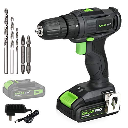 GALAX PRO 2-Speed Compact Drill 20V MAX Lithium-Ion Drill/Driver, 3/8'' Electric Drill with 19+1 Torque Setting, 1.3 Ah Battery, LED Work Light for Home Improvement and DIY Project
