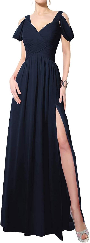 SUNFURA Women's Lace up V Neck Cold Shoulder Prom Evening Dress with Split