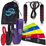 Invincible Fitness Home Gym Workout Equipment Bundle | 3 Pull-Up Bands, Jump Rope, 5 Loop Resistance Bands, Portable Carry Bag | Heavy Duty Exercise Supplies, Physical Abs Training, Body Strengthening